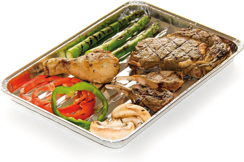 Jetable Aluminium Barbecook Lot de 5 Plats de cuisson pour barbecue 34,5 x 23 x 5 cm