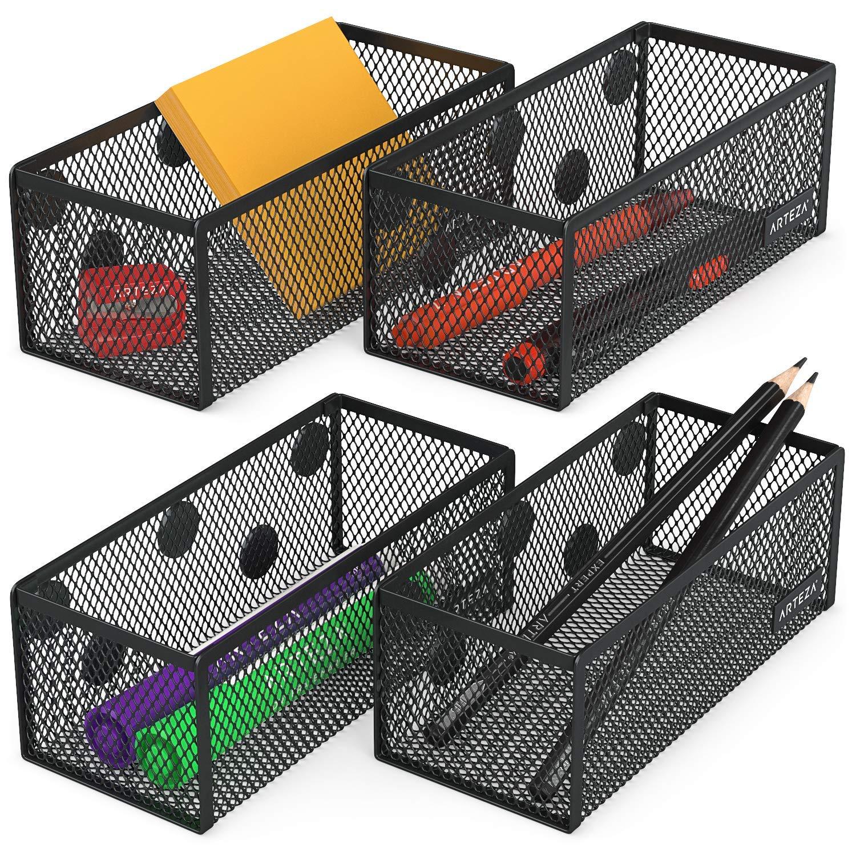 Articoli per Ufficio ed Arte Raccoglitori in Rete per Tenere ed Organizzare Matite Arteza Organizer Magnetici a Rete Set di 4 Cestini Portaoggetti Penne