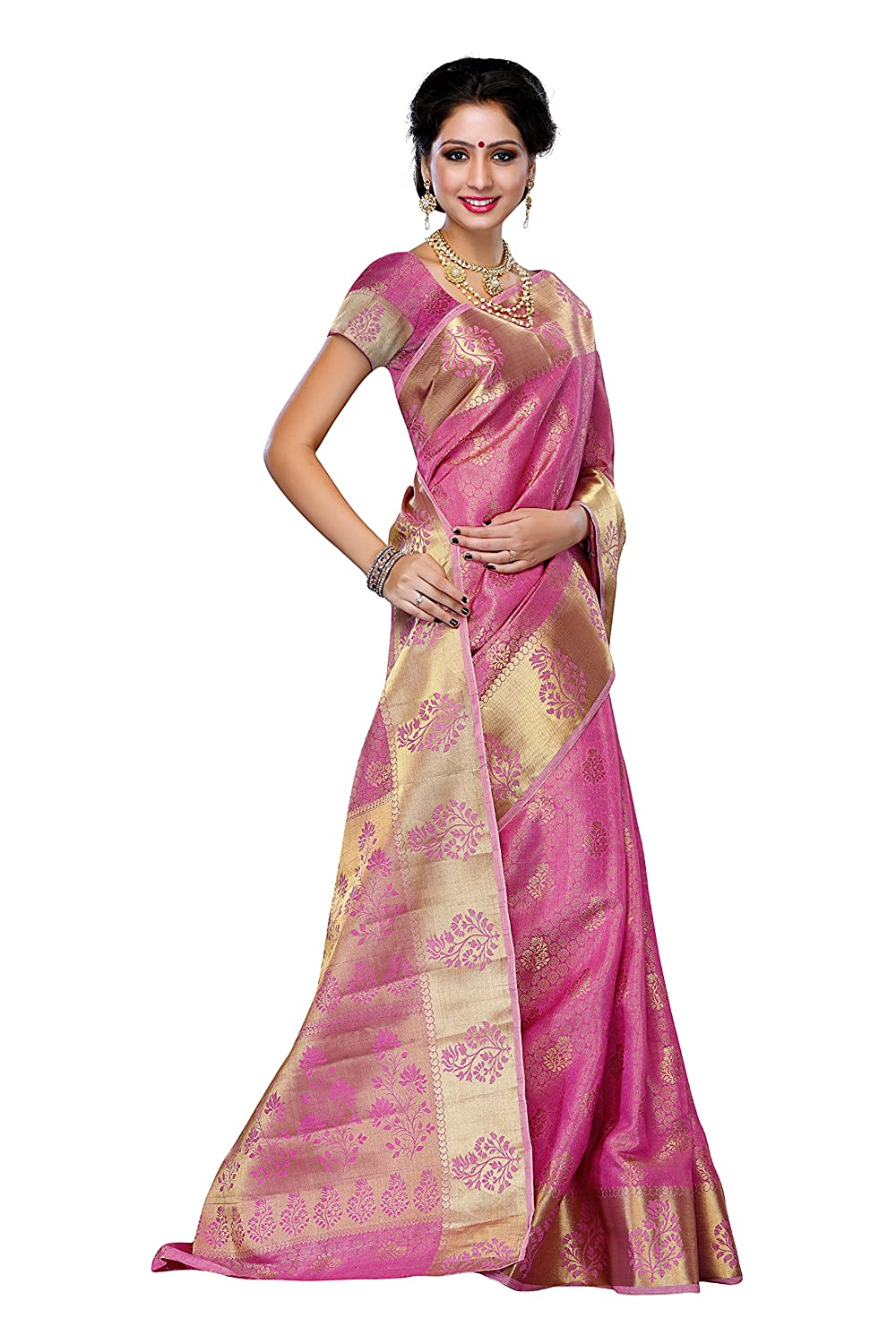 Mimosa WomenS Tussar Silk Saree With Blouse,Color:Pink(3192-178-PINK): Amazon.co.uk: Clothing
