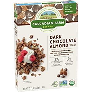 Cascadian Farm Organic Granola Dark Chocolate Almond Cereal, 13.25 Oz (Pack of 6)