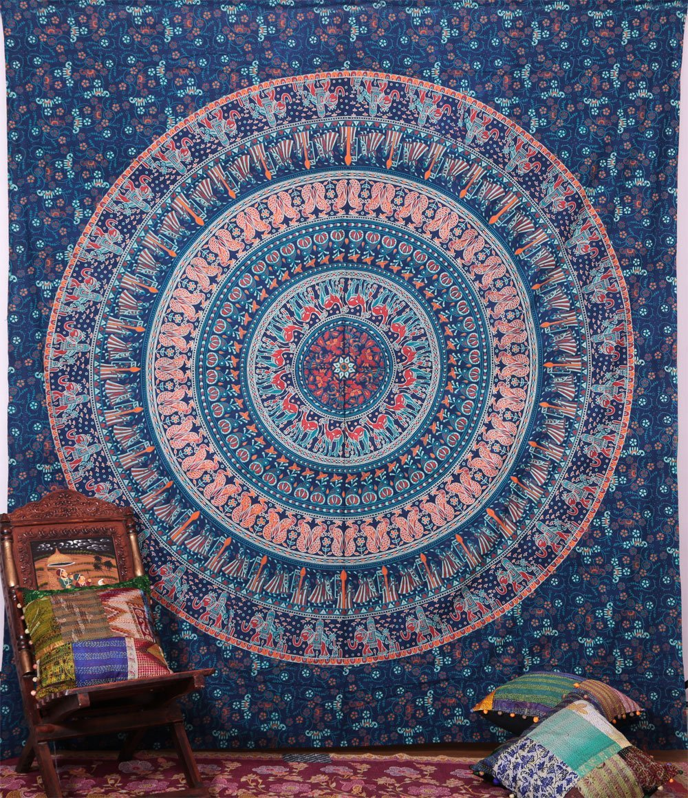 Handicrunch Hippie Elephant Tapestries Wall Hanging