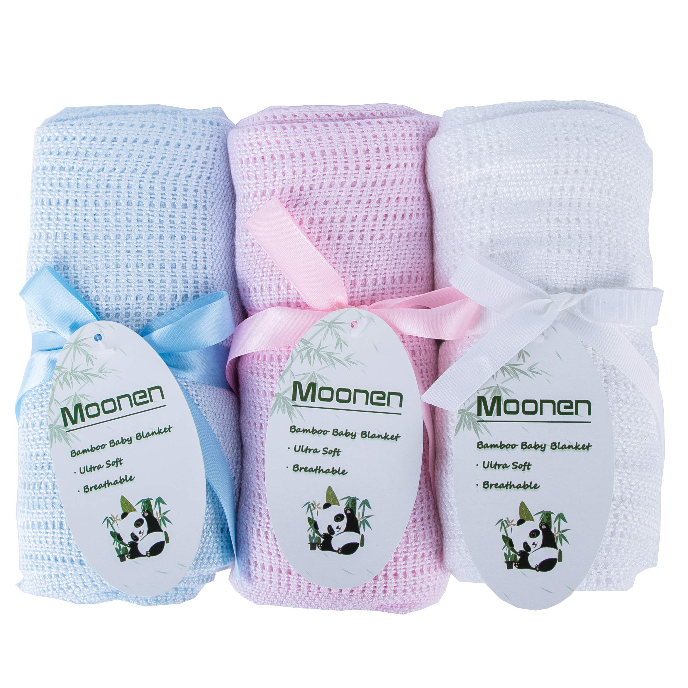 Moonen Bamboo Cellular Baby Blanket Unique Extra Soft Breathable Swaddle Crochet Blanket White Color Toddler Blankets Knitted Cellular Baby Blankets for Baby or Toddler (White, 60 x 90 cm)
