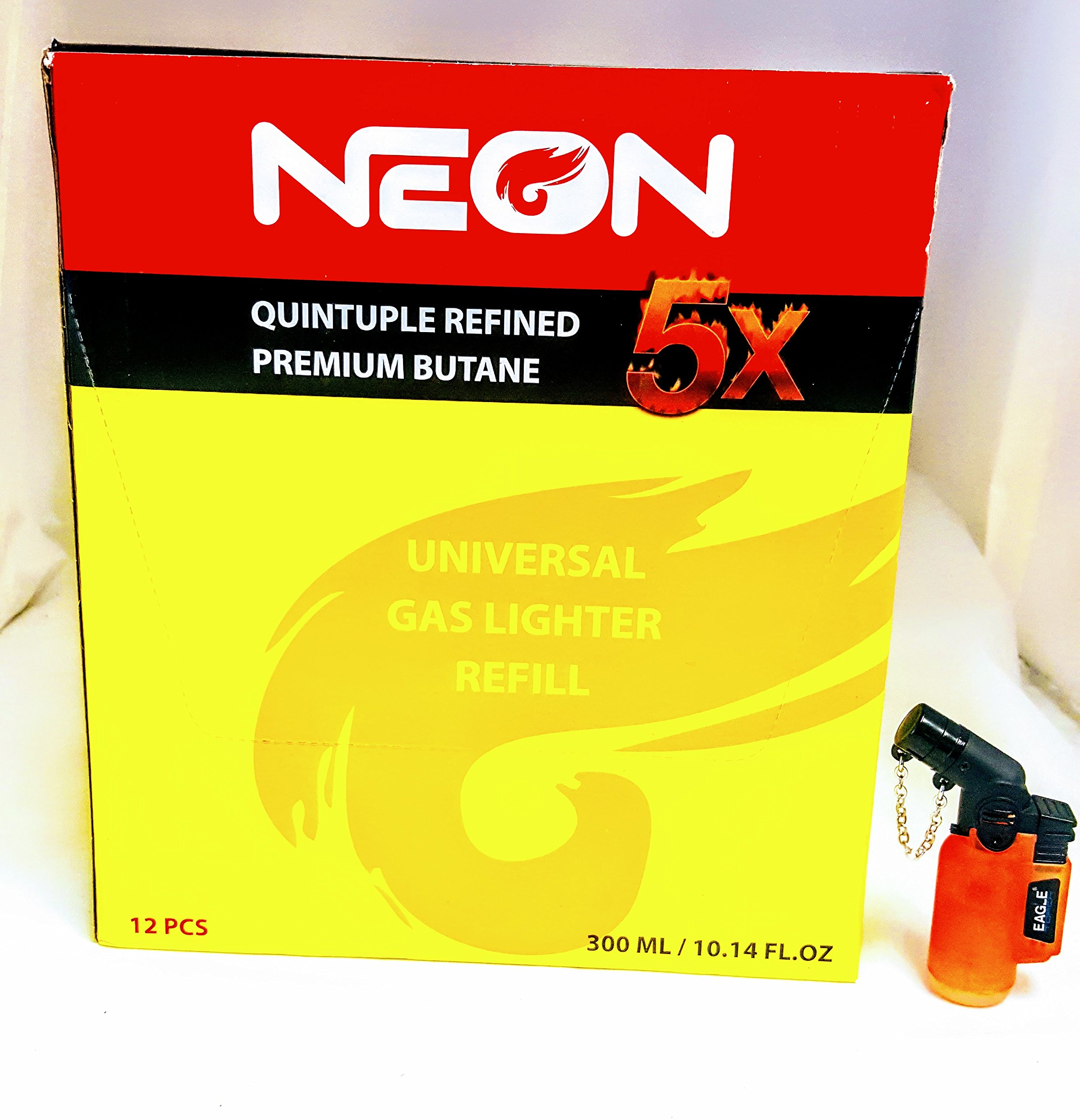 12 Cans of Neon 5x Ultra Refined Butane Fuel FREE eagle angle lighter