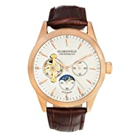 Globenfeld Mens Automatic Self Winding Mechanical Watch | Limited Edition Rose Gold or Blue Steel Skeleton Case, Designer Brown Genuine Leather Strap, Analog Display | 5 Yr Warranty, 90 Days Risk Free