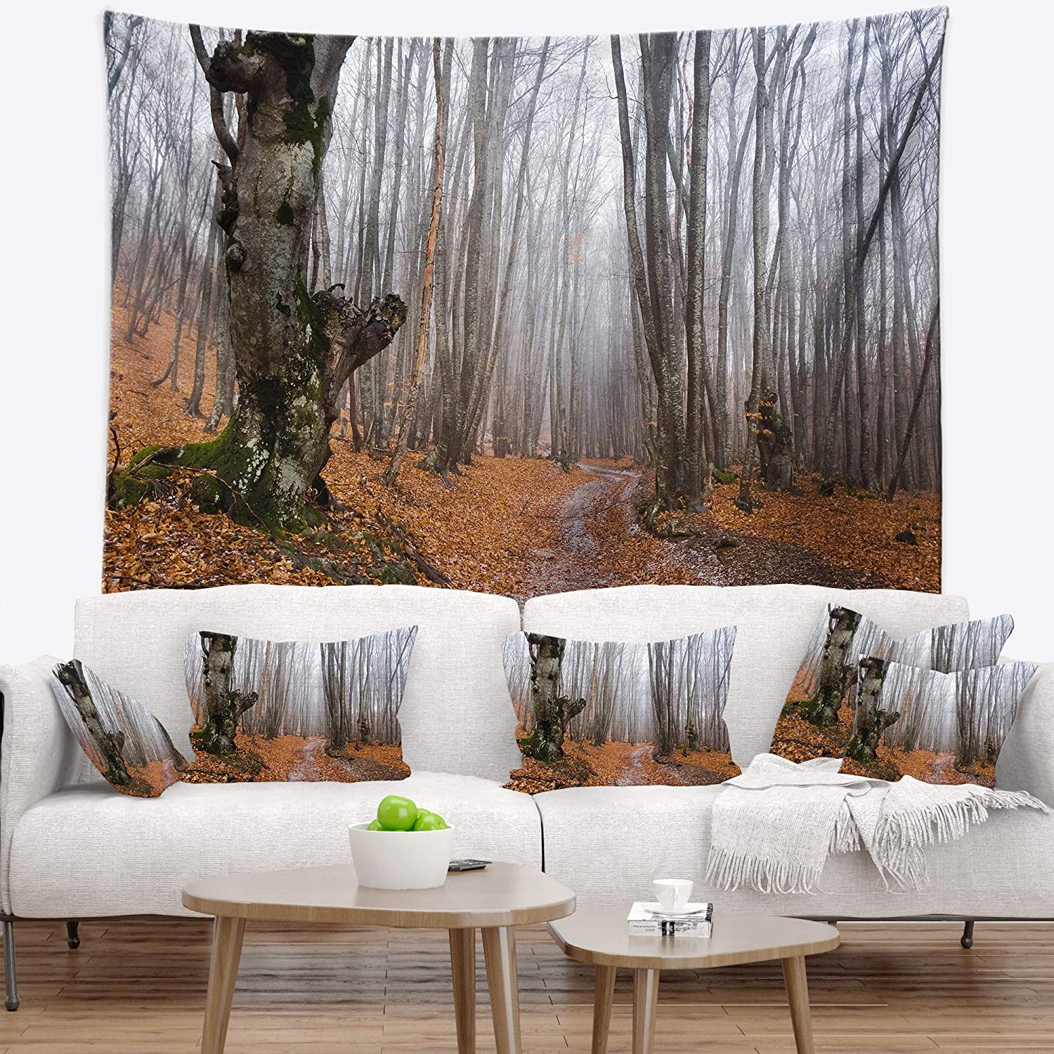 x 50 in Created On Lightweight Polyester Fabric Designart TAP13948-60-50  Road Covered by Fallen Leaves Modern Forest Blanket D/écor Art for Home and Office Wall Tapestry Large 60 in