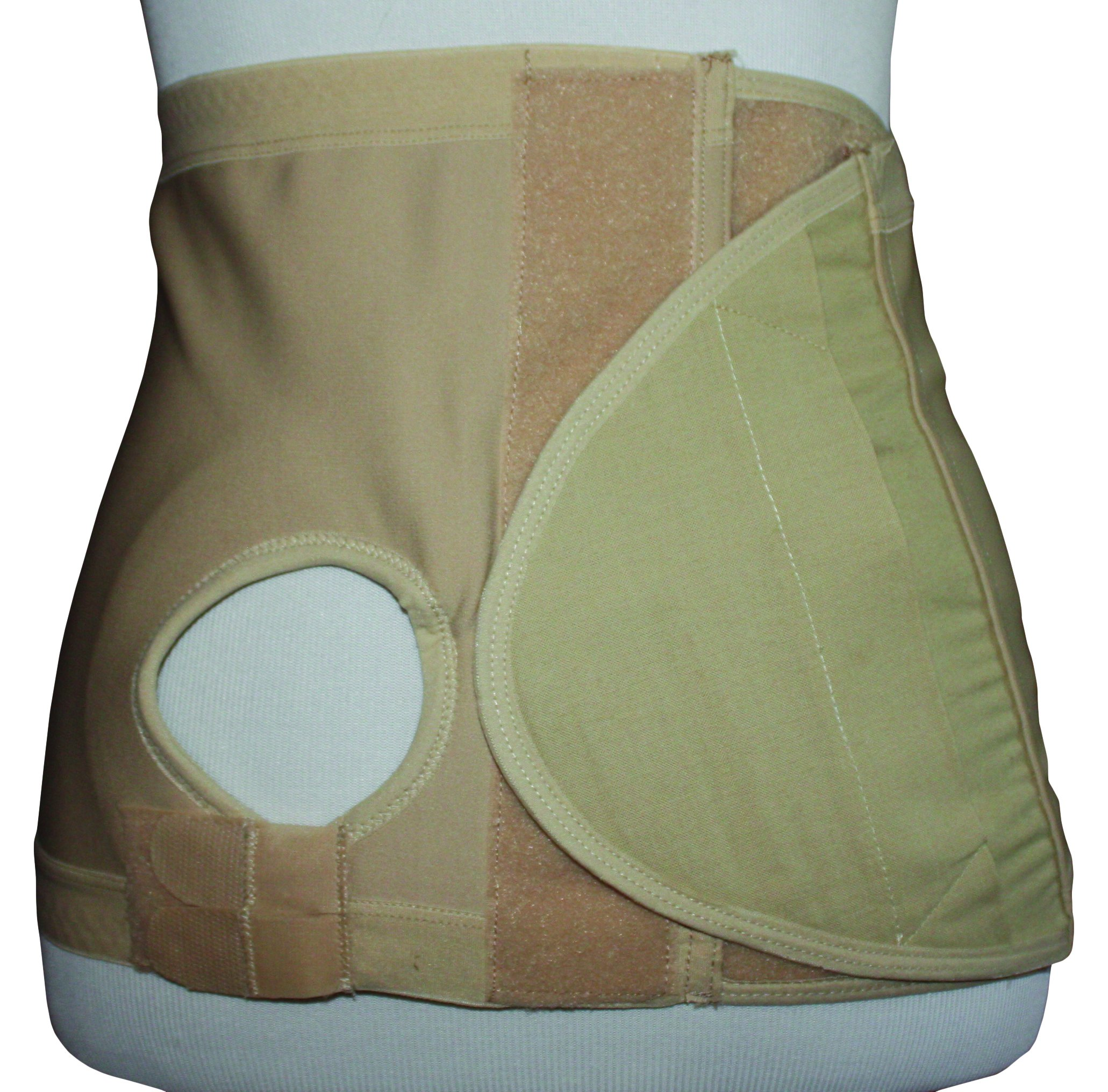 Safe n' Simple Right Hernia Support Belt with Adjustable Hole, 26cm, Beige, X-Small