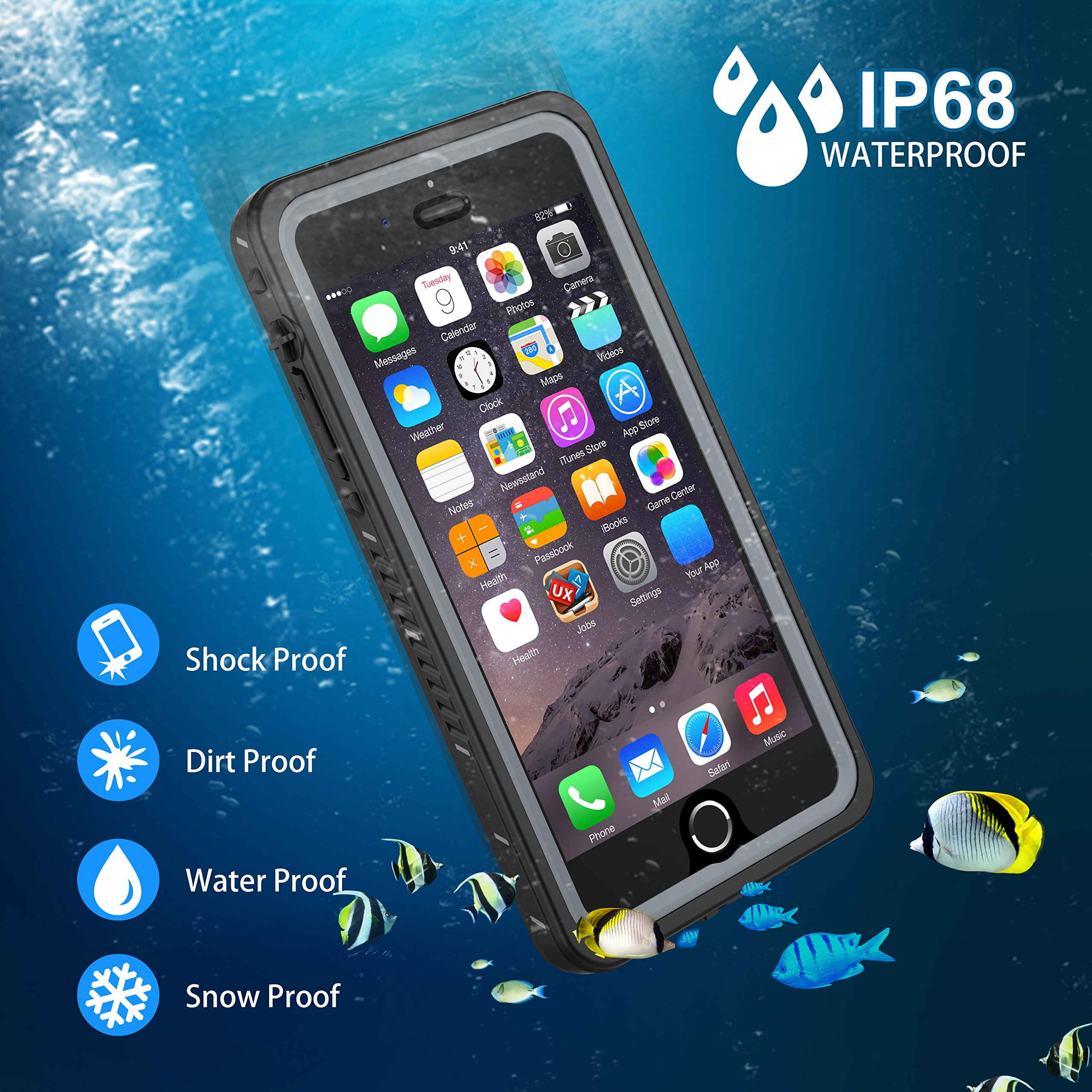 iPhone 7 Plus/8 Plus Waterproof Case, OTBBA Underwater Snowproof Dirtproof Shockproof IP68 Certified with Touch ID Full Sealed Cover Waterproof Case for iPhone 7 Plus/8 Plus-5.5in (Clear) by OTBBA (Image #2)