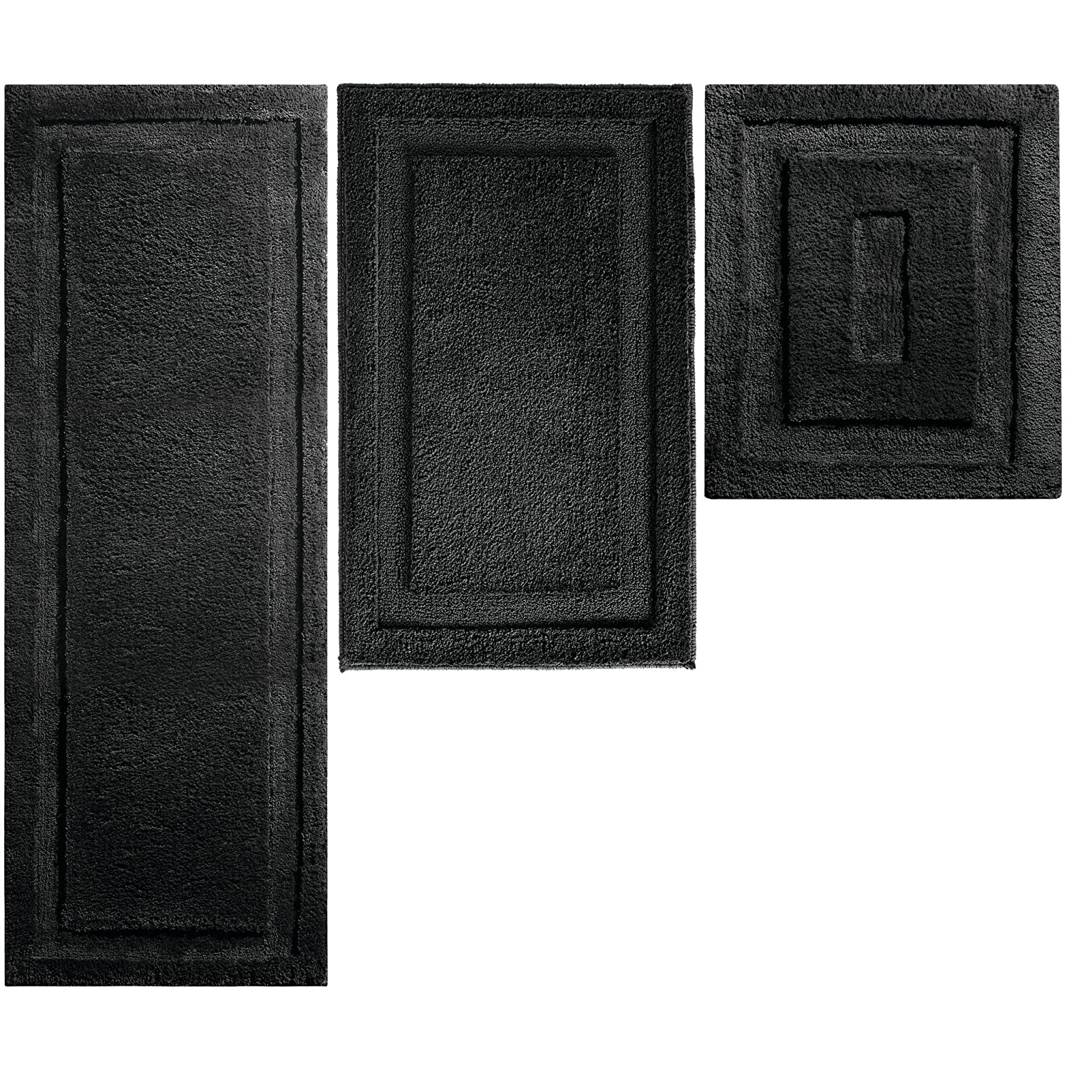 mDesign Soft Microfiber Polyester Spa Rugs for Bathroom Vanity Tub Shower Water Absorbent Machine Washable Includes Plush Non Slip Rectangular Accent Rug Mats in 3 Sizes Set of 3 Black