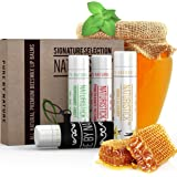 All Natural Lip Balm Set with Bonus Holder by Naturistick, Best Chapstick for Dry, Chapped Lips, 4 Flavor Variety Pack with Aloe Vera, Vitamin E, and Coconut Oil for Men, Women and Kids, Made in USA