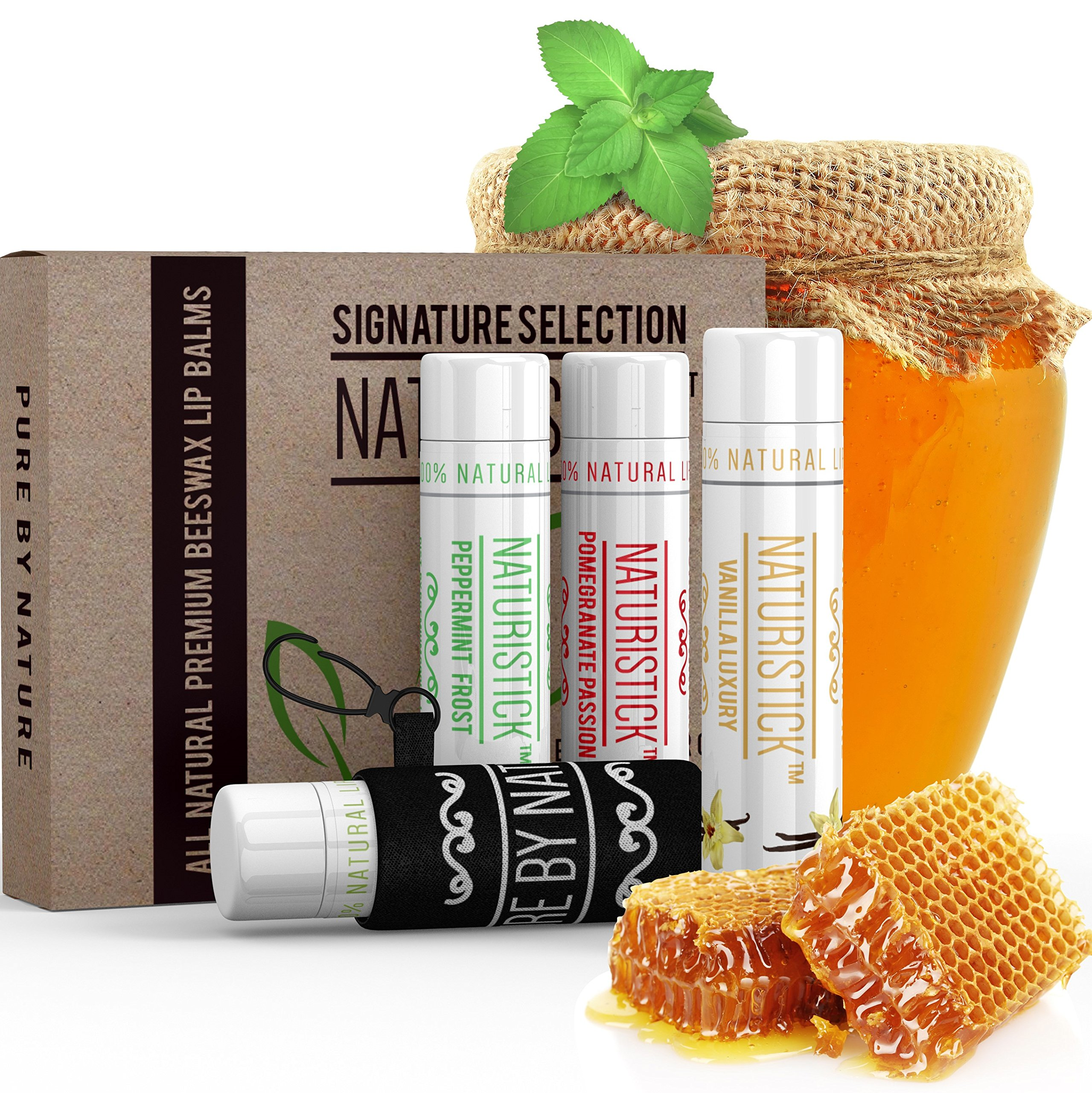 Lip Balm Gift Set Plus Holder-All Natural Beeswax Chapstick by Naturistick. Best Healing for Dry, Chapped Lips with Aloe Vera, Vitamin E and Coconut Oil for Men, Women and Kids, 4 Flavors, Made in USA