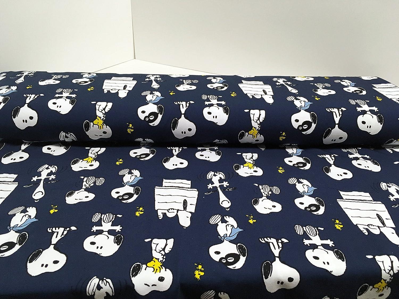 Jersey plástico The Peanuts Snoopy Indigo Azul - 150 cm de Ancho - 50 cm por Unidad - 92% algodón, 8% Elastano - Gots KBA biostoff Jersey biojersey: ...
