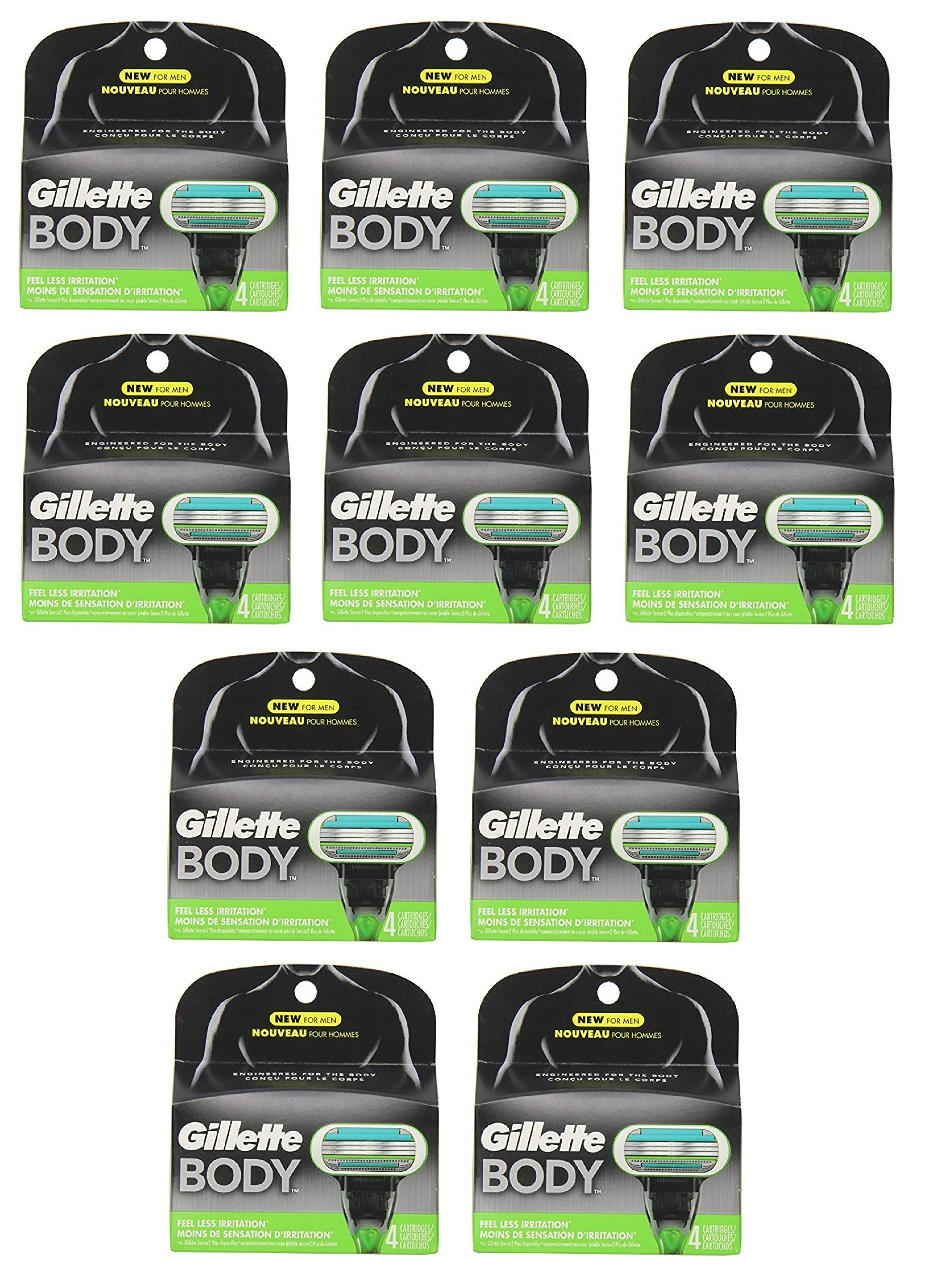 GlLLETE Body Refill Blade Cartridges, 4 Count (10 Pack)