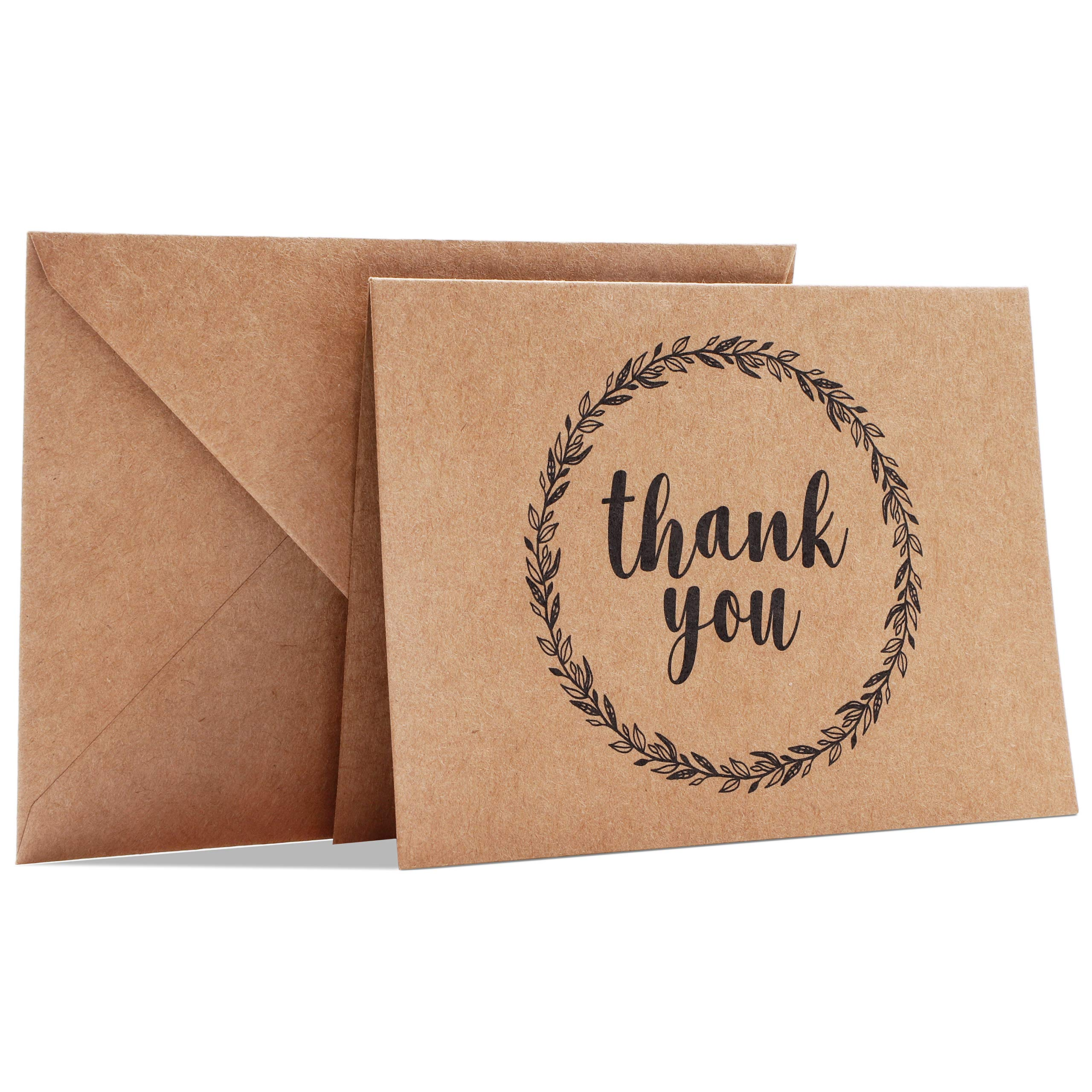 Best Paper Greetings 120-Pack Mini Kraft Thank You Note Cards Bulk Box Set for All Occasion, Wedding, Baby and Bridal Shower, Envelopes Included, 3.5 x 5 Inches by Best Paper Greetings