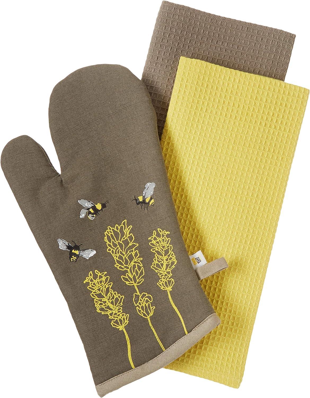 DEI 11843 Honey Bee Oven mitt and Towel, 3 piece Set, Mulitcolor