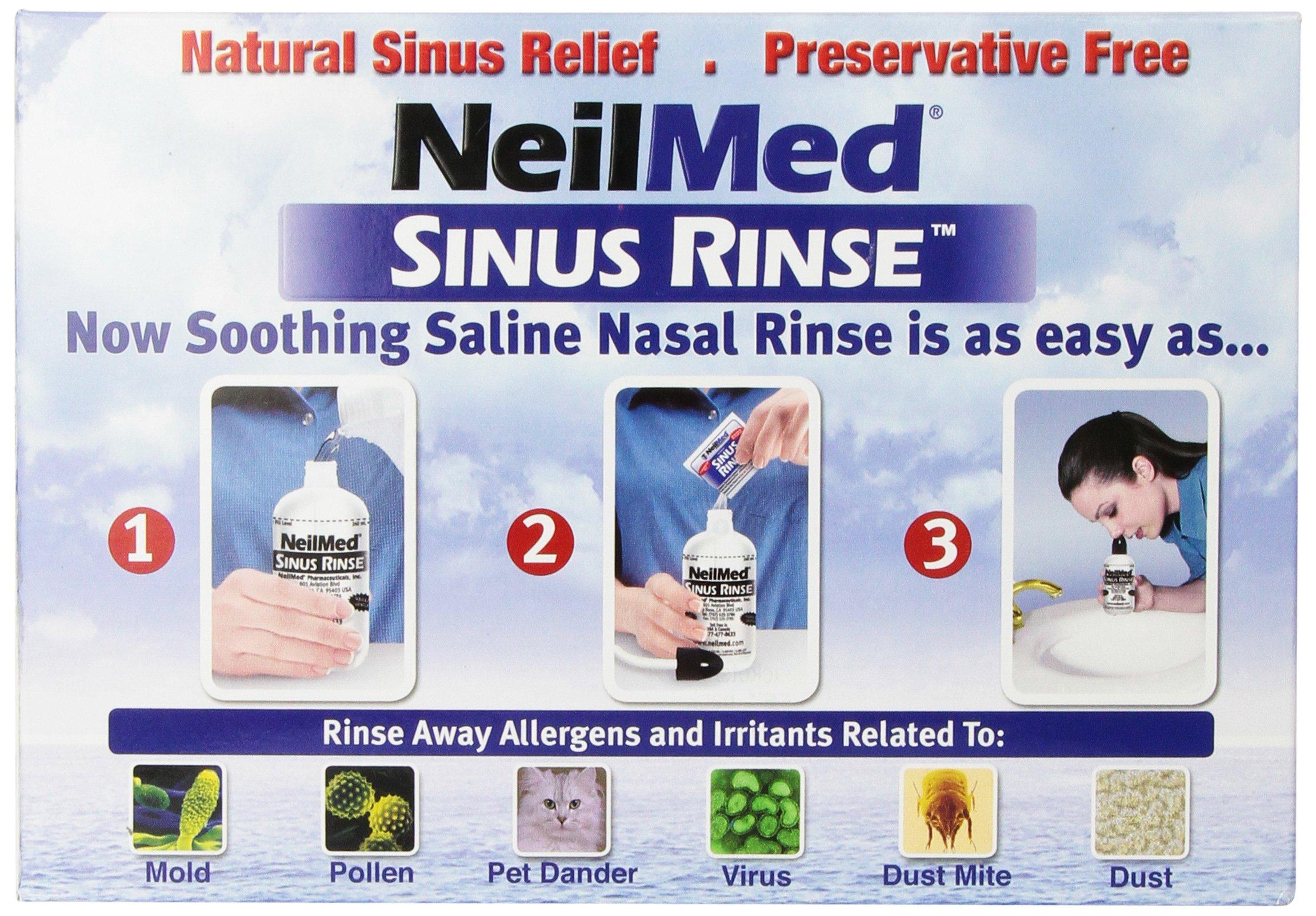 NeilMed Sinus Rinse - 2 squeeze Bottles 240mL (8fl oz) & Nasamist Saline Spray 75mL - 250 Premixed Packets - BONUS Nasa Mist Saline Spray - Value Pack