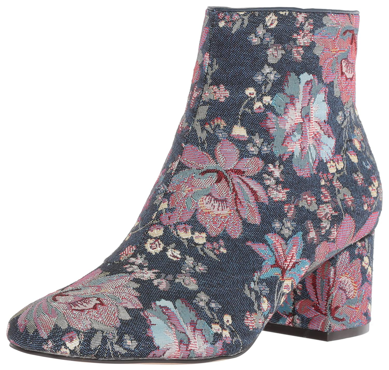 The Fix Women's Daniella Block-Heel Bootie Ankle Boot B076ZWBN1Q 7.5 B(M) US|Floral Pastel Denim Jacquard Textile