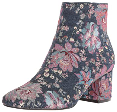 5d43e2f3bf5 The Fix Women's Daniella Block-Heel Ankle Bootie Boot, Floral Pastel Denim  Jacquard Textile 6 B US