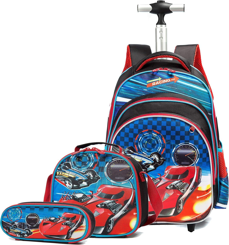 Mochilas Escolares con Ruedas Niños,3 en 1 Trolleys para Mochila, Mochilas Bolso con Carro para Niñas Mochila Colegio Infantil, 3D Cars Diseño Patrón