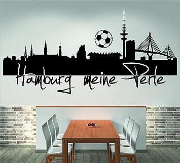 Skyline Hamburg Meine Perle 120 Cm Breite Schwarz Wandtattoo Wandaufkleber Wohnzimmer