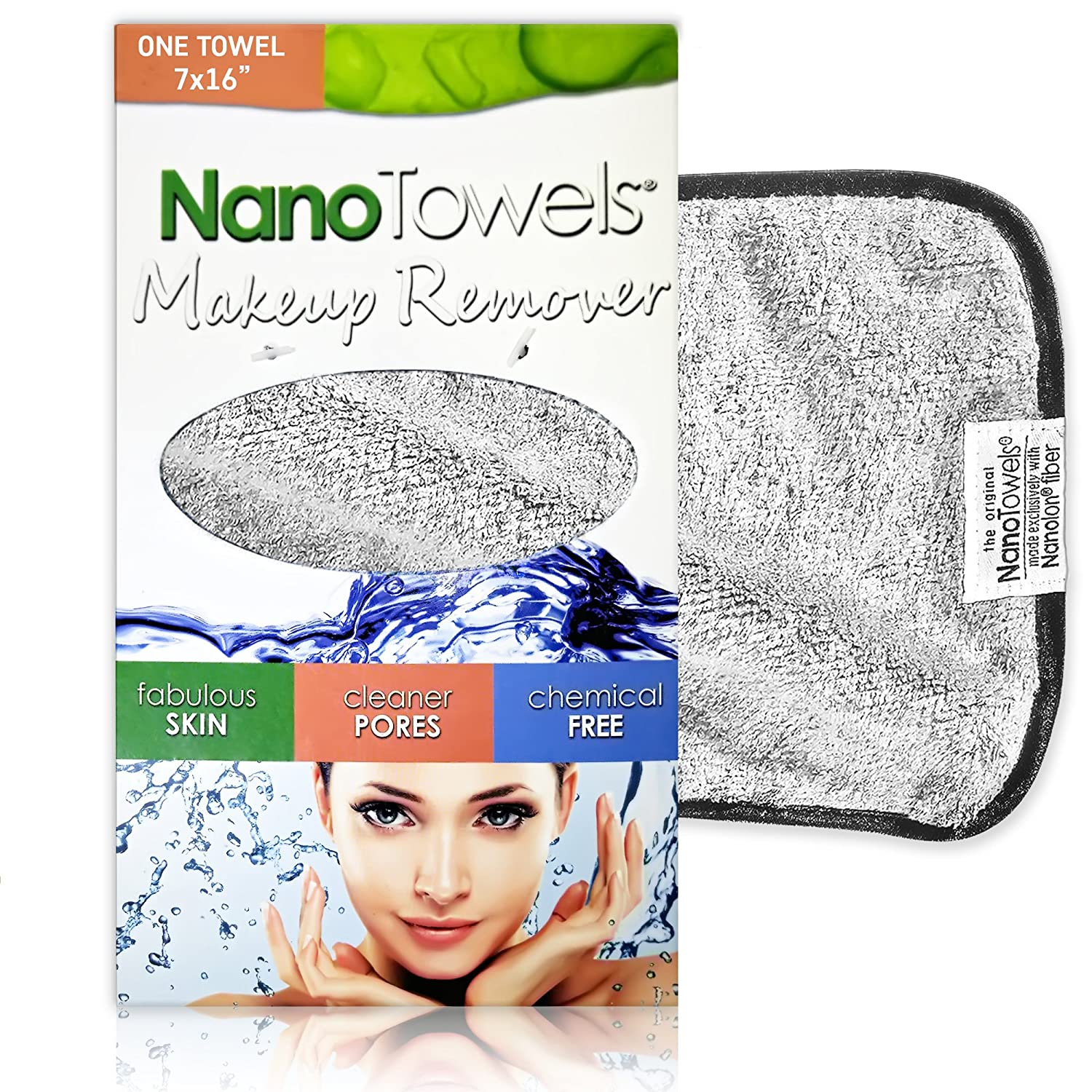 Nano Towel Makeup Remover Face Wash Cloth. Remove Cosmetics FAST and Chemical Free. Wipes Away Facial Dirt and Oil Like An Eraser. Great for Sensitive Skin, Acne, Exfoliating (Grey)