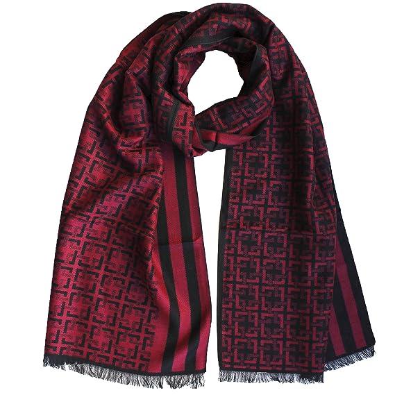 FERETI Echarpe Homme Soie Rouge Noir A Large Rayures Et Tartan Abstract  Carreaux Foulard Automne Hiver ab64f3e6dfa