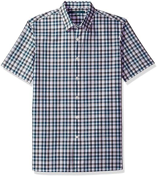 Perry Ellis Mens Short Sleeve Multi Color Check Pattern Shirt