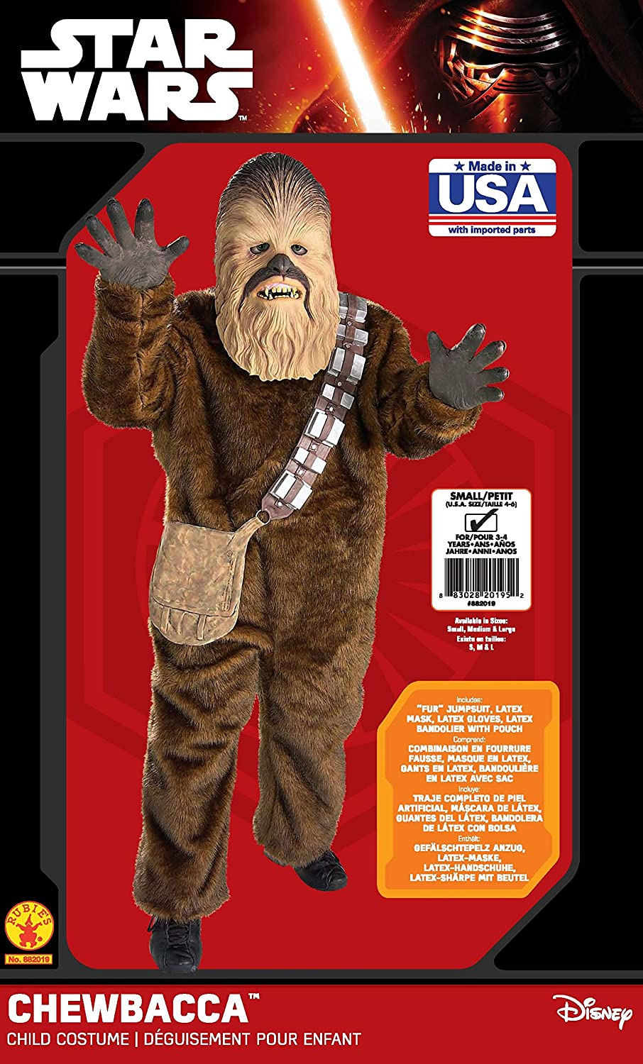 Amazon.com: Rubies Star Wars Classic Childs Deluxe Chewbacca Costume, Small: Toys & Games