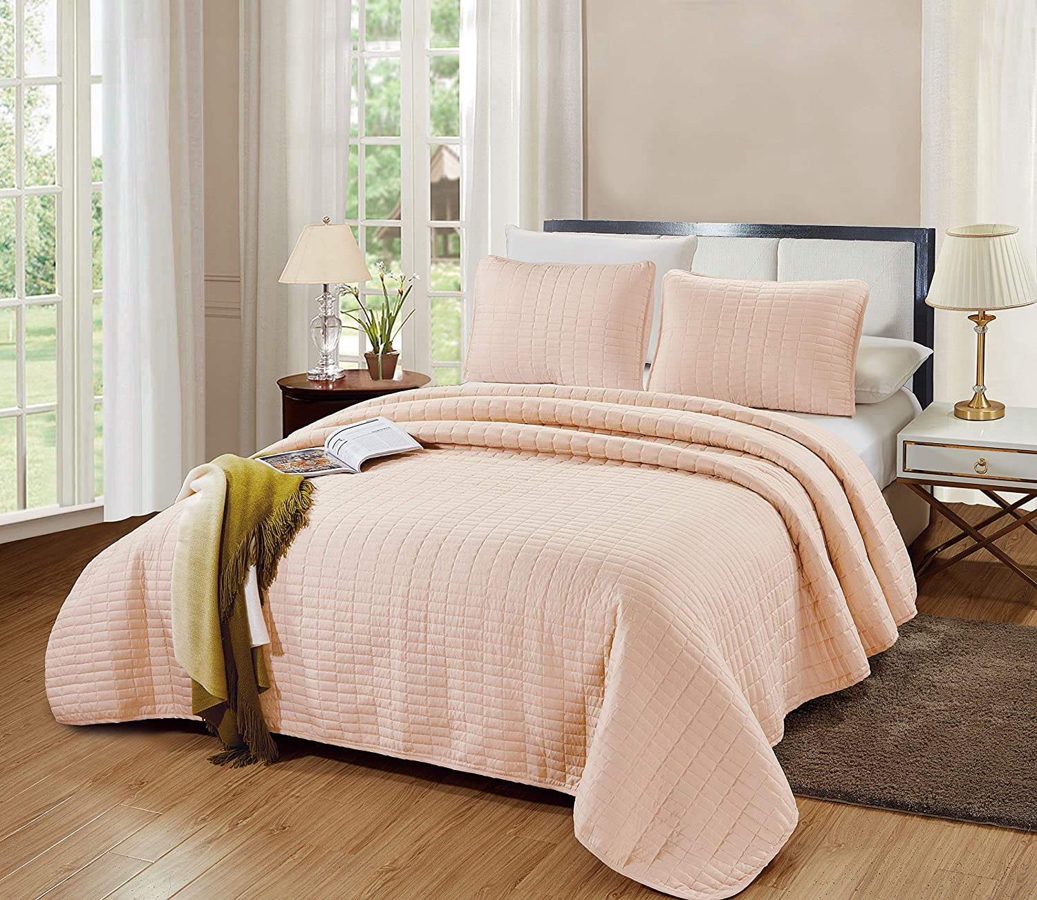 """GrandLinen 3-Piece Bedding Catena Quilt Set Solid Blush Pink Queen/Full Size 90"""" x 90"""" Bedspread with 2 Pillow Shams - Rectangle Box Pattern Soft Microfiber Coverlet"""