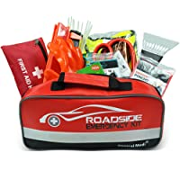 General Medi 127 PCS Roadside Car Emergency Kit Include a Premium First Aid Kit, Tow Rope, Bandage, Safety Vest, Emergency rain poncho