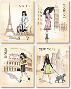 Gango Home Decor Paris, London, Roma and New York Set by Andrea Laliberte, Set of Four 8x10in Mounted Prints Ready to Hang on Your Wall!