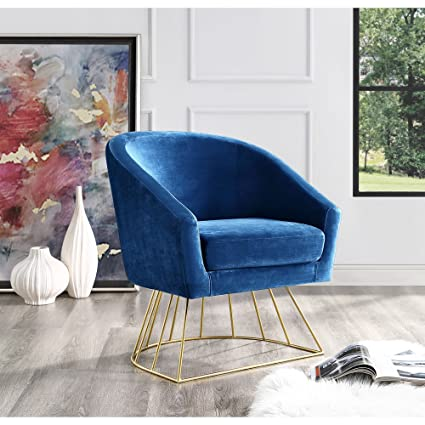 Amazoncom Adalene Navy Velvet Accent Chair Gold Metal Base