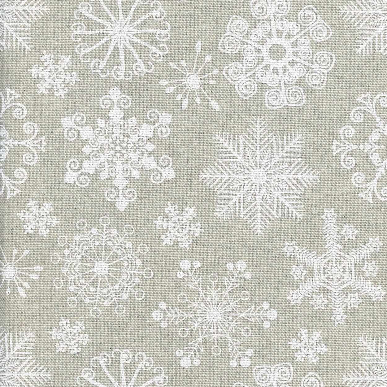 1 metro tela Navidad con con copos de nieve blancos intrincados sobre un fondo de color lino crudo Tela Maravillas del invierno ancho: 155 cm