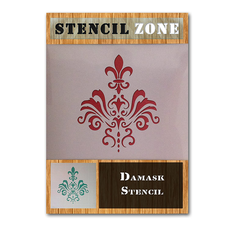 Modelo del damasco de la vendimia elegante lamentable Mylar pintura del arte de la plantilla de veinti/ún A5 Tama/ño de la plantilla - XSmall