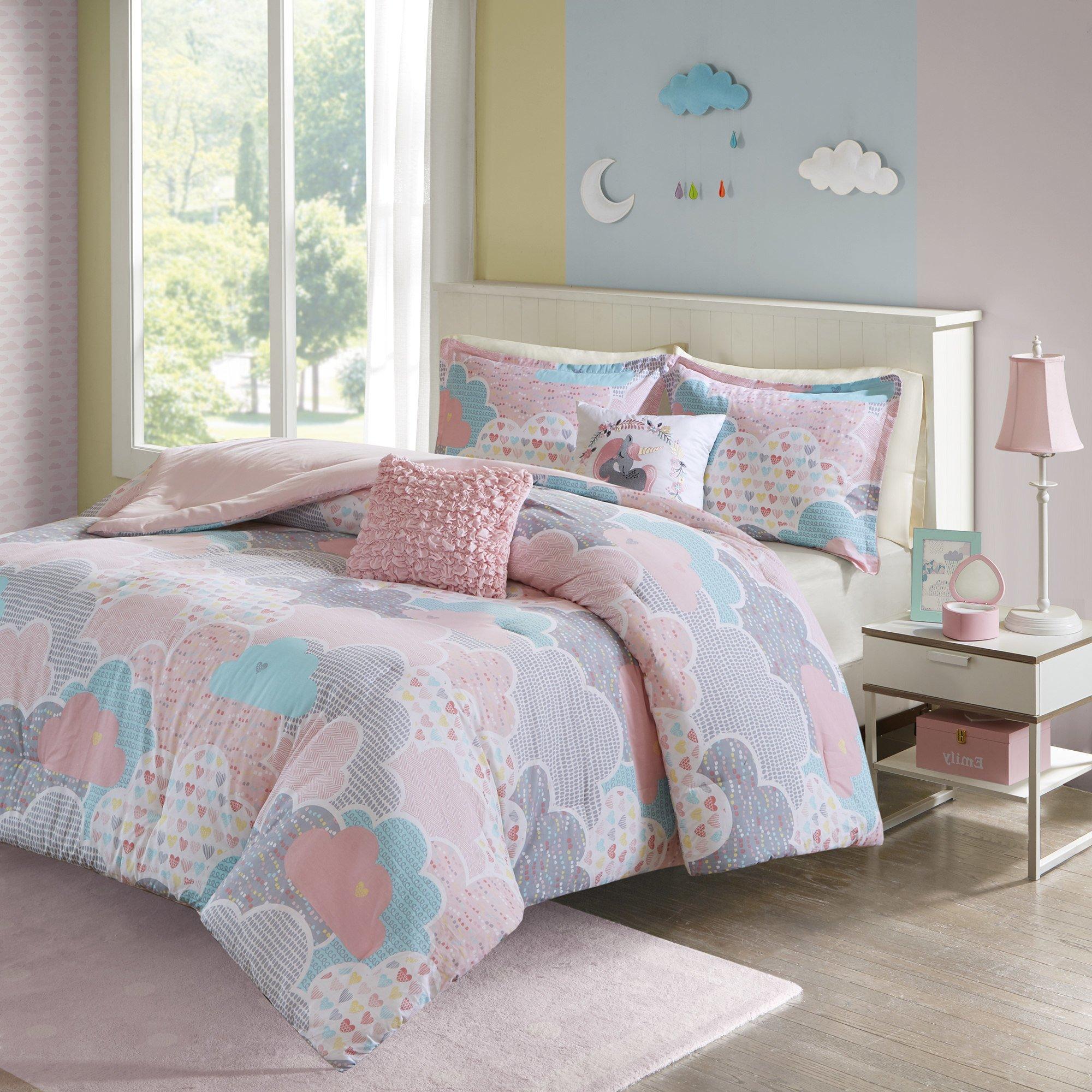 5 Piece Girls Pastel Color Cloud Themed Comforter Full Queen Set, Baby Blue Aqua Light Pink White Grey Sky Clouds Bedding, Playful Fun Polka Dot Heart Love Swirl Dots Pattern, Cotton
