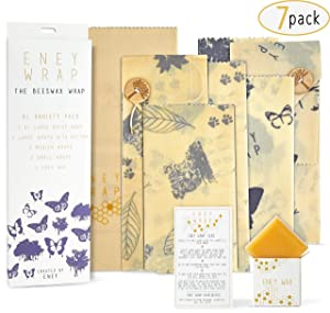 ENEY Premium Organic Beeswax Wraps | 7 Pack Eco-Friendly Reusable Food Wrap | Extra Large Set 1 Bread Wrap, 2 Large with Button and Tie, 2 Medium, 2 Small, Wax Replenisher…