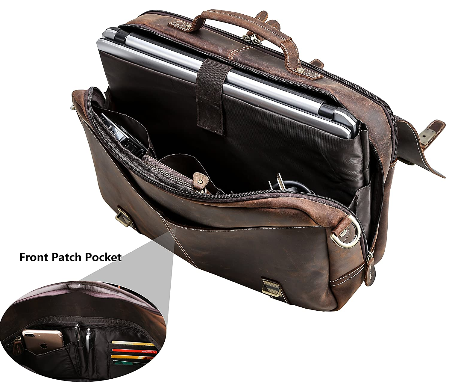 "Flap Over Messenger Bag Leather Iswee 15.6"" Laptop Briefcase Vintage Bag Computer Bag for Men Dark Brown"