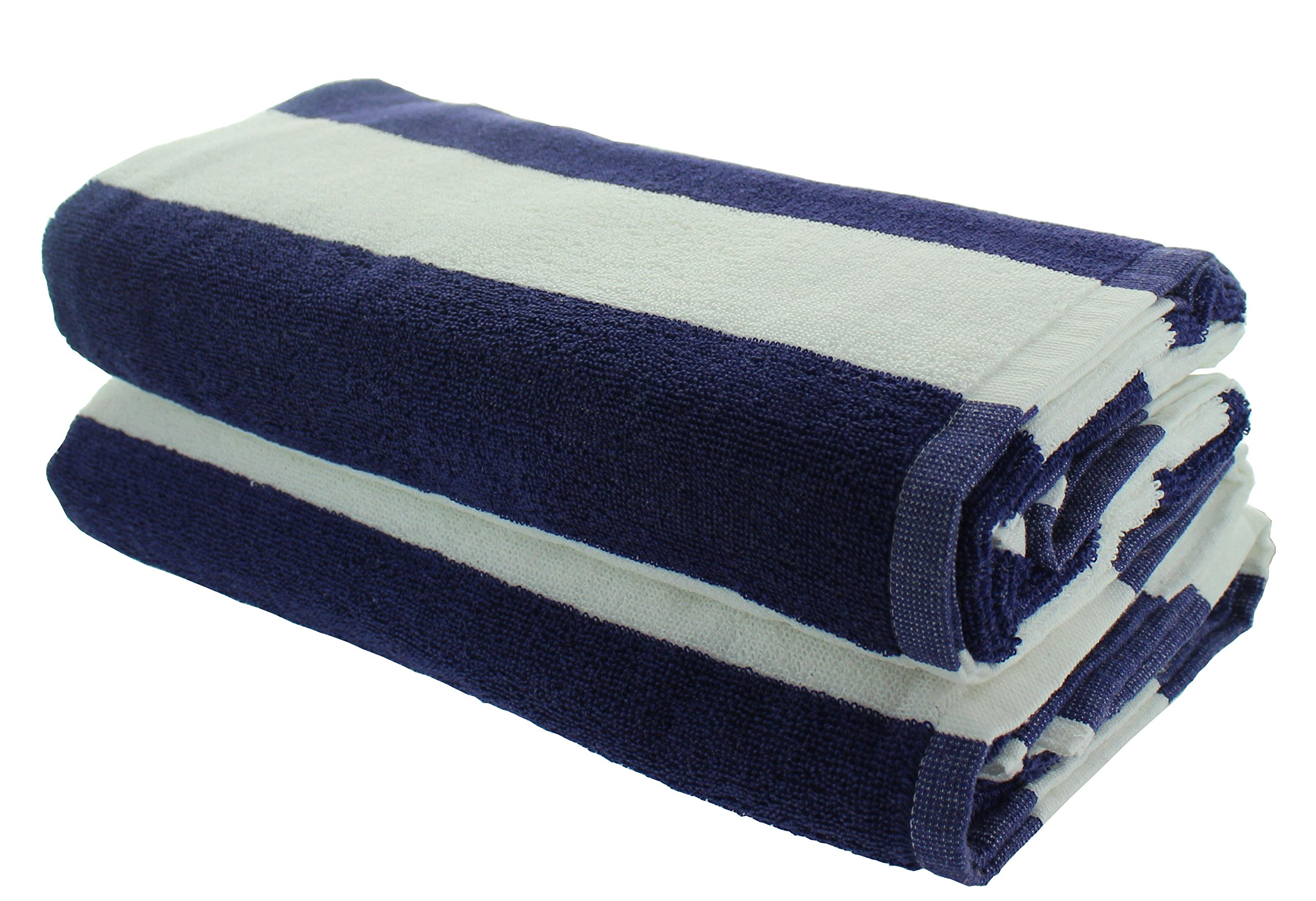 Everyday Resort Quality Cabana Beach Towels - Pack of 2 Cabana Navy Blue Stripe Pool Towels 100% Cotton - Large 60'' by 30'' - Soft and Absorbent, Great for the Pool and the Beach!