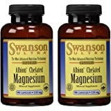 Swanson Ultra Albion Chelated Magnesium Glycinate Mineral Supplement, 133 mg, 180 Capsules