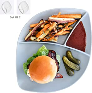 Porcelain Divided Dinner Plates Dinnerware Sets - 2 Large Platters For Adults - Amazing Burger Plate Collection - Stoneware Grey