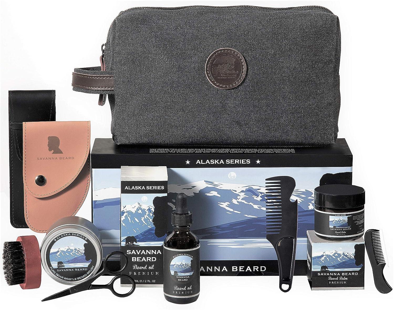SAVANNA BEARD - Grooming Beard Kit - 100% Pure Boar Bristle Brush & Green Sandalwood Dual Action Comb with PU Leather Case & Stainless Beard Nose Scissors - Travel Bag & Elegant box - Perfect Gift