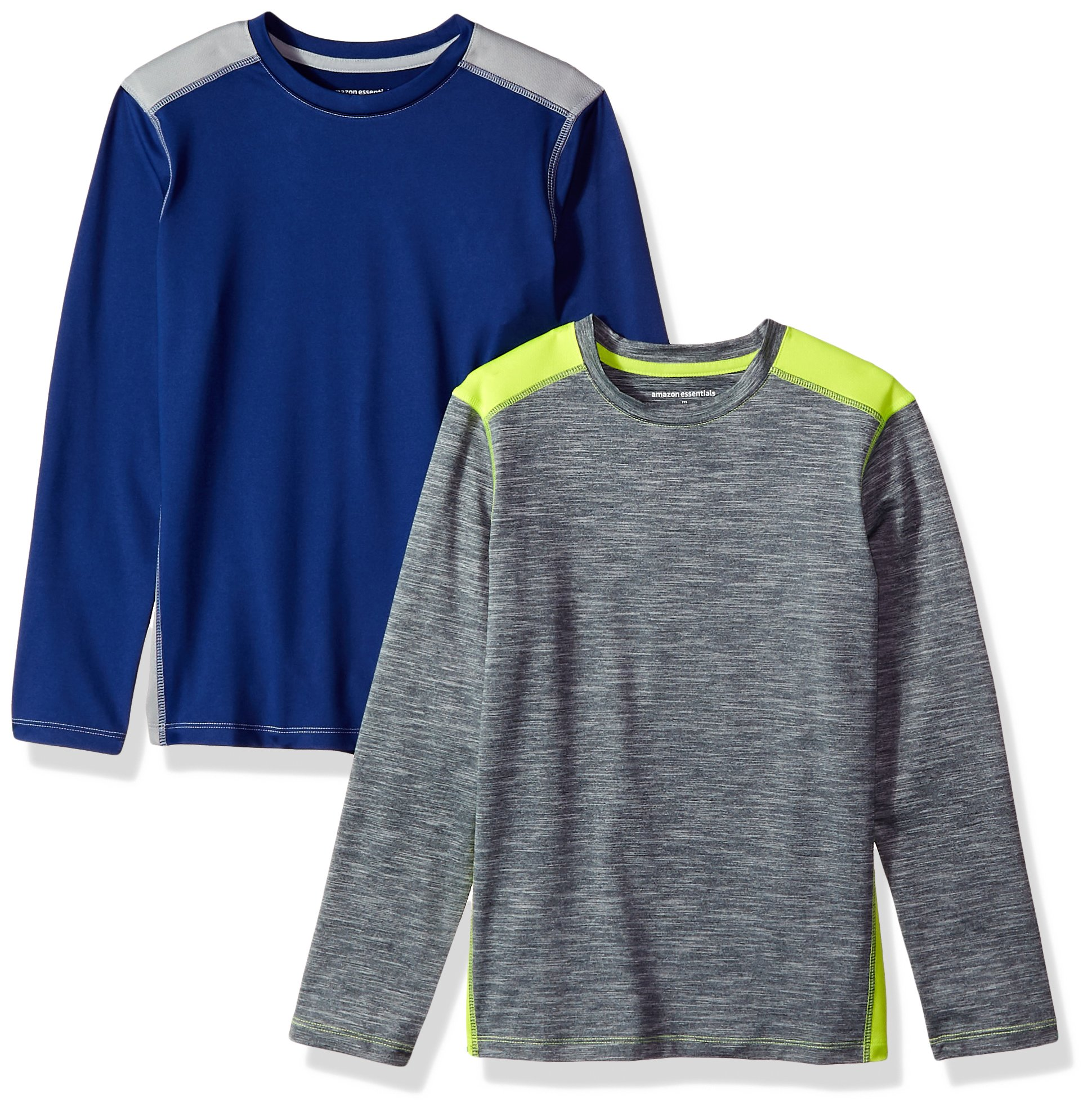 Amazon Essentials Boys' 2-Pack Long-Sleeve Pieced Active Tee, Navy/Grey/Grey/Lime, Small