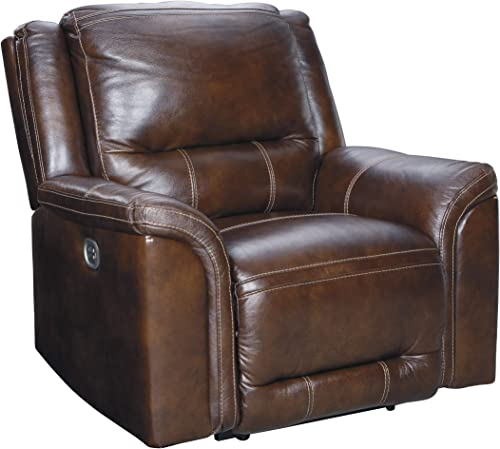 FurnitureMaxx Hogan Mocha Faux Leather Contemporary Zero Wall Wide Seat Recliner Chair