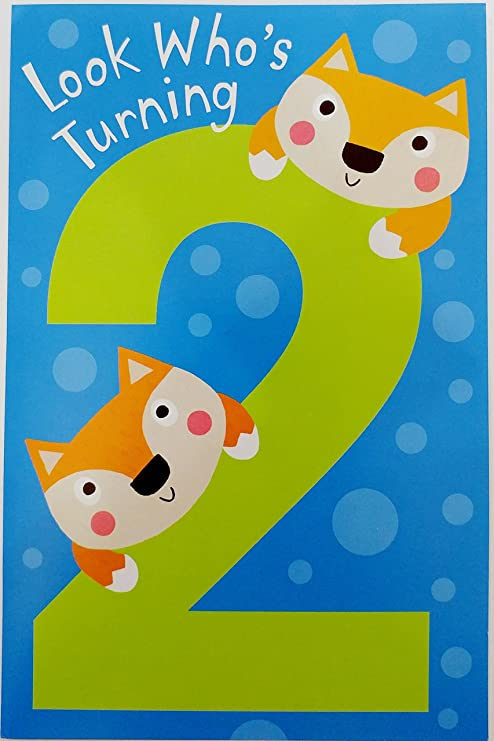Amazon Happy Second 2nd Birthday For A Busy BOY Whos Two Greeting Card W Cute Fox