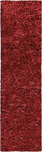 Superior Textured Shag Runner Rug, Burgundy, 2 3 x 11