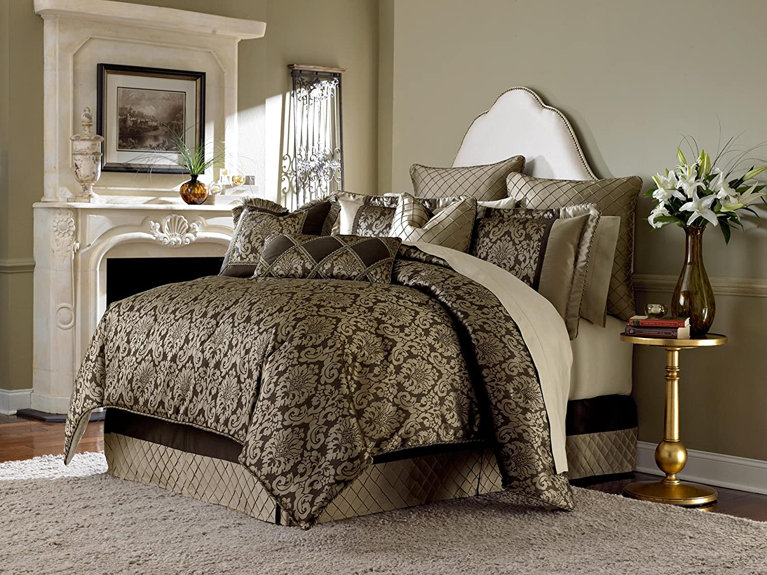 Michael Amini 10 Piece Imperial Comforter Set, King, Gold/Brown