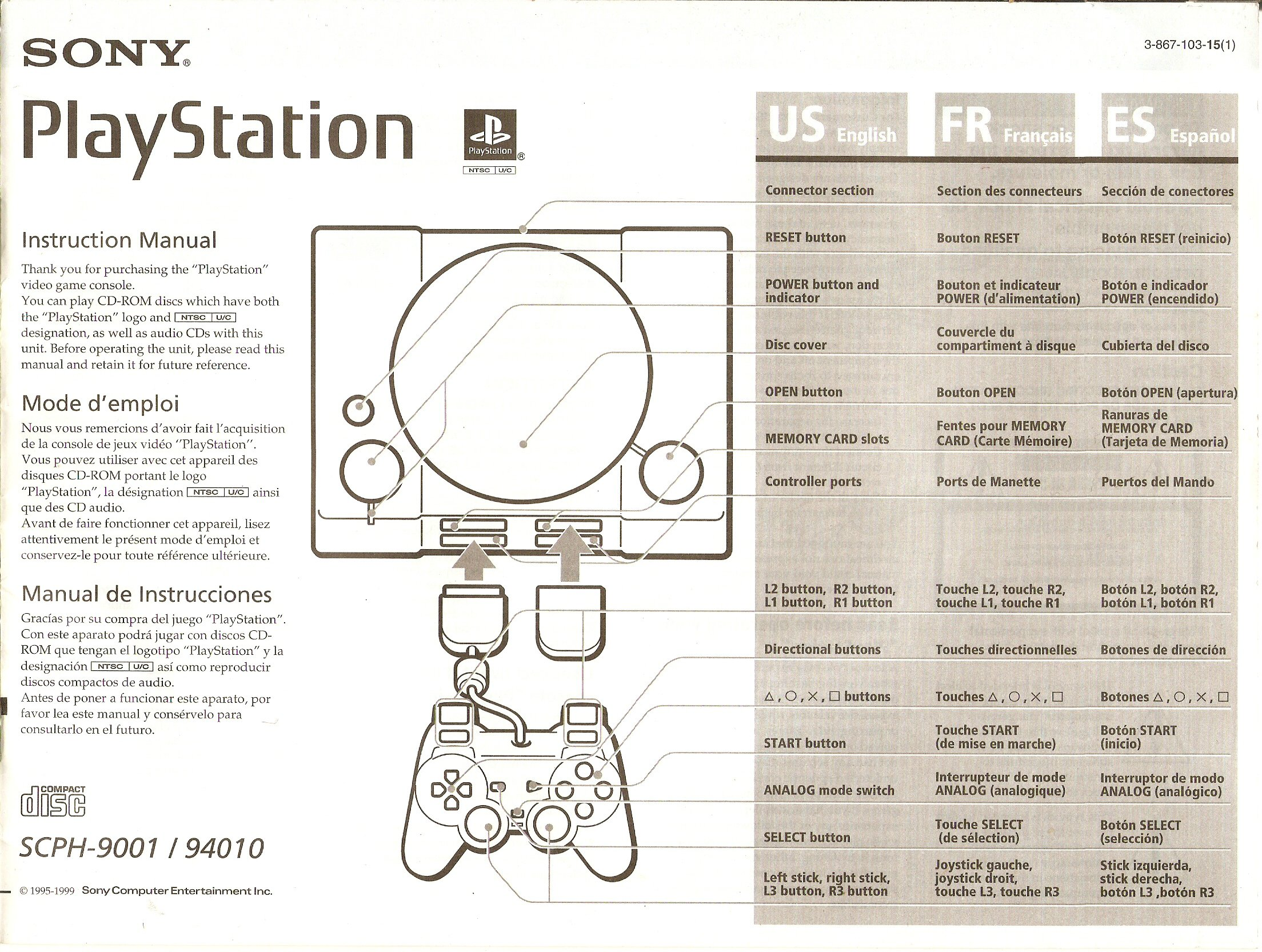 Sony PlayStation 1 System Instruction Manual model SCPH-9001 ...