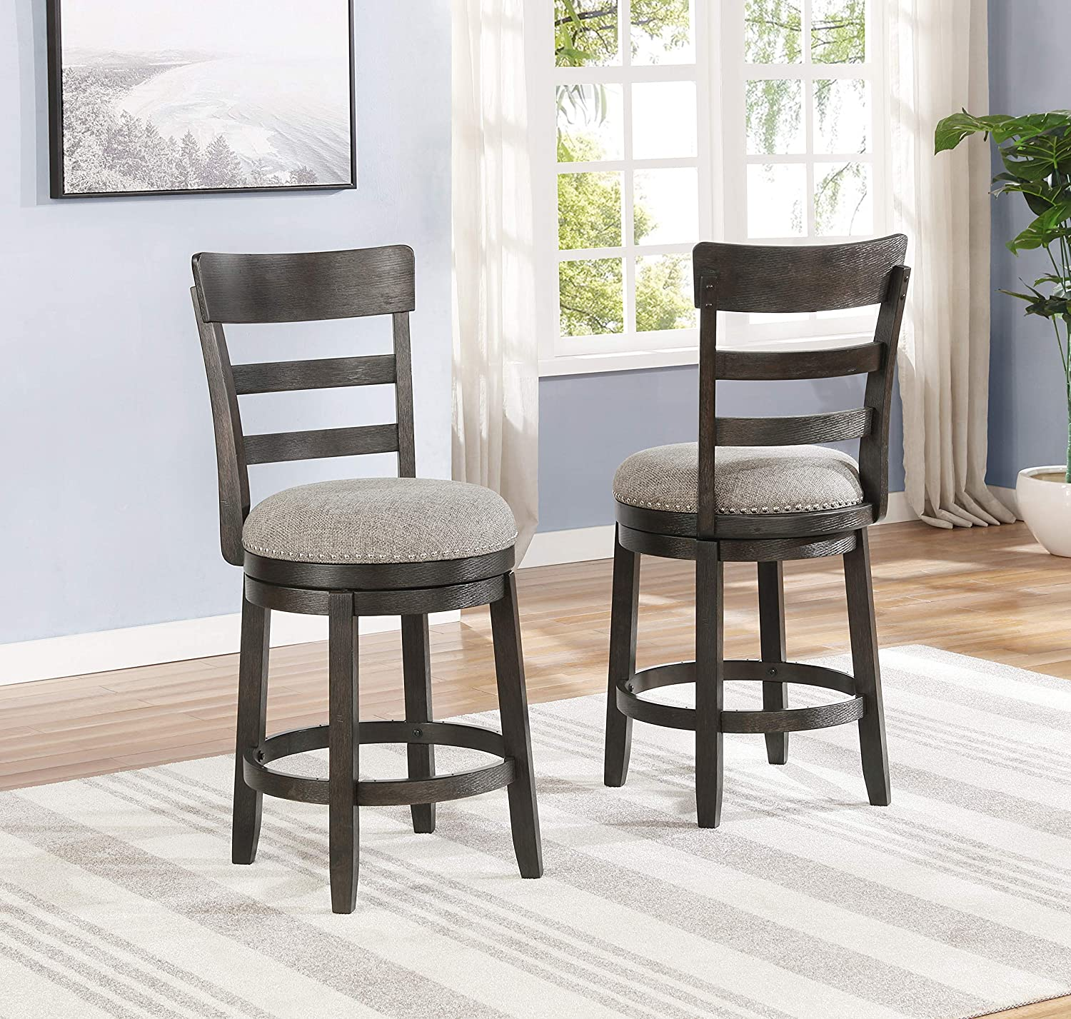 Roundhill Furniture Kessel Brown Brushed Wood Swivel Counter Height Stools, Set of 2