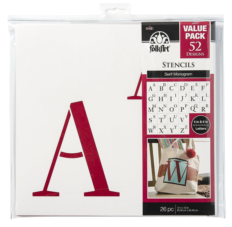 Folk Art die cut Papier Schablonen, Schablonen, Schablonen, 38955e Serif Monogramm (26-pack) B01FHNZTN2 | Angemessener Preis  e6aa06