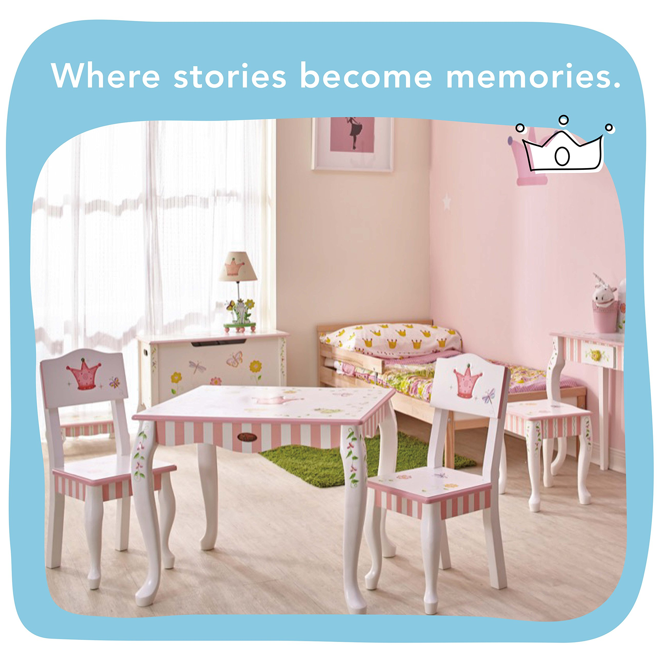Fantasy Fields - Princess & Frog Thematic Hand Crafted Kids Wooden Table and 2 Chairs Set  Imagination Inspiring Hand Crafted & Hand Painted Details   Non-Toxic, Lead Free Water-based Paint by Fantasy Fields (Image #5)