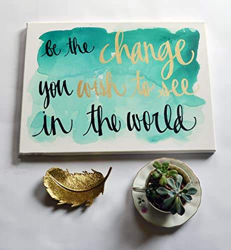 Amazon.com: Emerald Be The Change Inspirational Watercolor ...